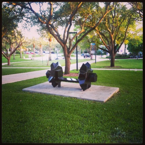 Form and function. #UMiami #sculpture #art #bench