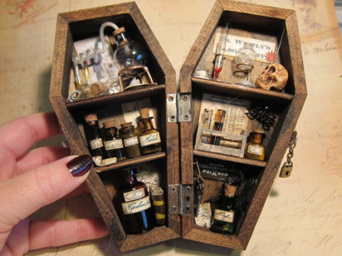 nudiemuse:  gothhipster:  undertakertalbot:  Mad scientist laboratory in a miniature coffin.  Amazing craft idea!  That is so cool.