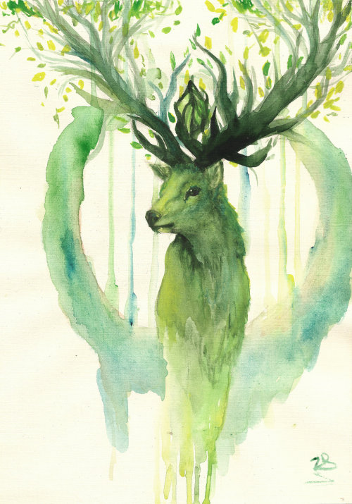 art painting traditional art fantasy deer spirit of the forest zarielcharoitite