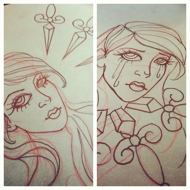 Sketching an idea that's been in my head all week. #sketch #art #ladyhead #daggers #ineedmorecoffee
