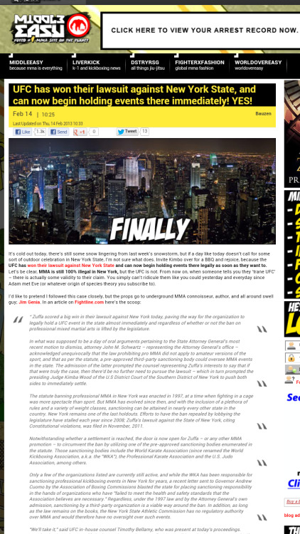 If no one has heard this news yet here it is from Middleeasy.com UFC will be hosting fights here in N.Y. . I can't wait to buy a ticket to Madison Square Garden to watch some fights this is so awesome.  Now all we need is to hold a Worlds jiujitsu tournament in N.Y and we are set ….
