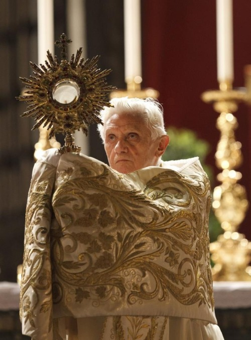"goandannouce:   ""With the Eucharist, therefore, heaven comes down to earth, the tomorrow of God descends into the present and it is as if time remains embraced by divine eternity."" https://www.facebook.com/WeAreCatholics"