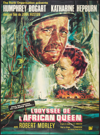 The African Queen - French Movie Poster Starring: Humphrey Bogart, Katharine Hepburn, Robert Morley, Peter Bull, Theodore Bikel, Walter Gotell, Peter Swanwick, Richard Marner, Gerald Onn, and John von Kotze. Directed by John Huston