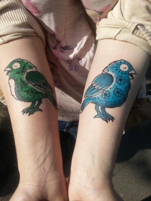 fuckyeahtattoos:  Sugar Skull Birds based on artwork by Jose Pulido. Done by Sara at Hell to Pay tattoos, Camden, UK. These are my first ever tattoos and I'm so pleased with them!