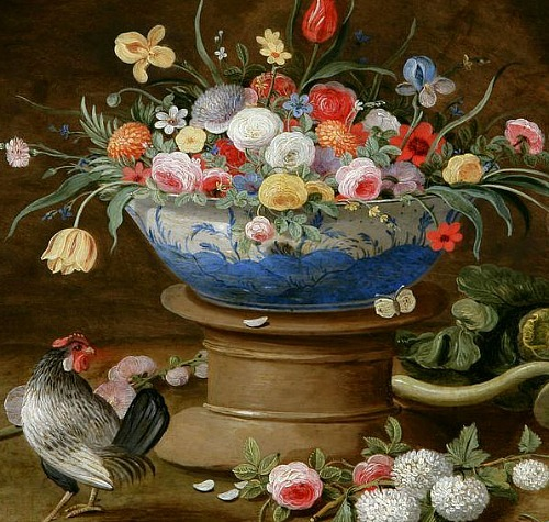 Jan van Kessel the Elder Still Life with Flowers and Rooster 17th century