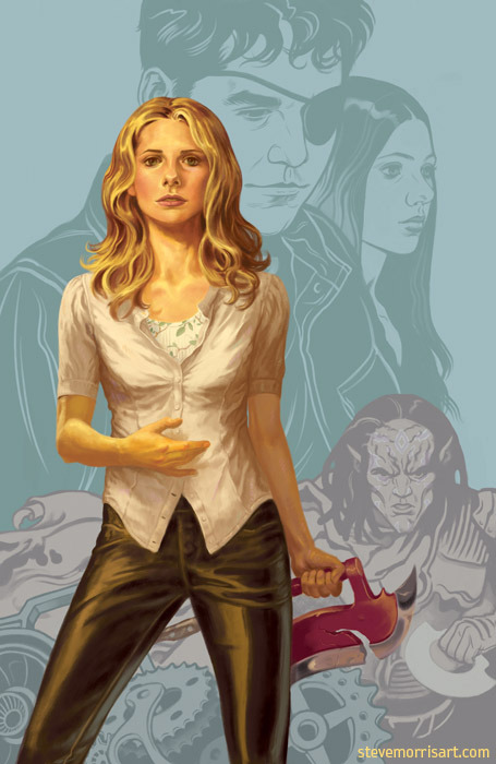 My cover for volume 1, season 9 of Buffy the Vampire Slayer. This image is a newer version than what's being used for the solicitations, but this is the image that will be used on the printed cover.