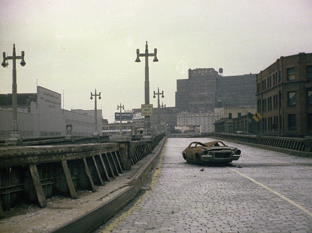 West Side Highway abandoned with burned out 1970s CamaroNew York, 1975 via Andy Blair