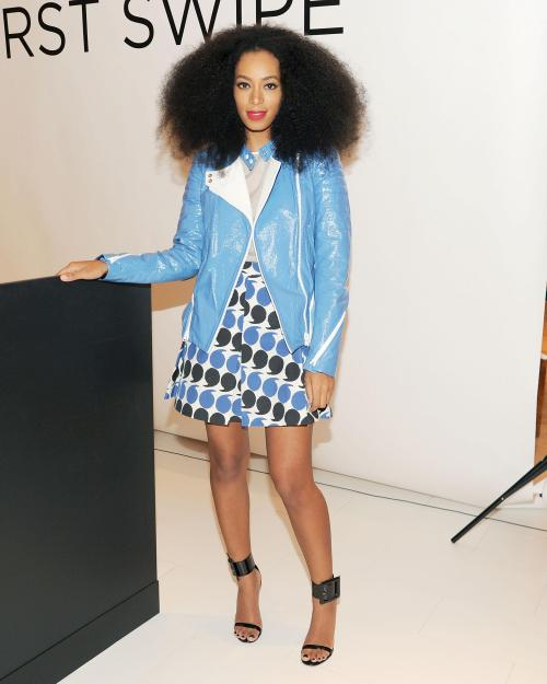 thisisbandofoutsiders:  Solange Knowles in Band of Outsiders skirt from Resort 13 at Saks Fifth Avenue event.