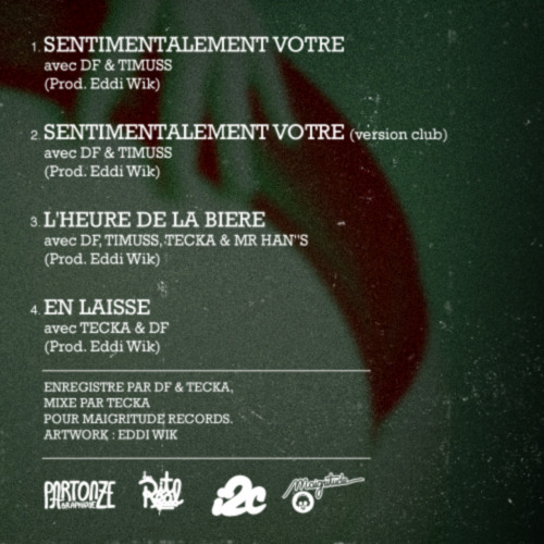 "Sentimentalement votre  Ep 4 titres en téléchargement gratuit sur http://eddiwik.bandcamp.com/    http://facebook.com/maigritude  DF (www.i2cmusic.com)  Eddi Wik (soundcloud.com/eddi-wik/)  Mr Han""S (www.i2cmusic.com)  Tecka (www.facebook.com/teckamaigritude)  Ti'Muss (www.bootylovegang.com)  - - - - - - - - - - - - - - - - - - - -  Enregistré par DF & Tecka.  Mixé par Tecka pour Magritude Records.  Artwork : www.mehdizik.fr  - - - - - - - - - - - - - - - - - - - -  PartonzeGraphique 