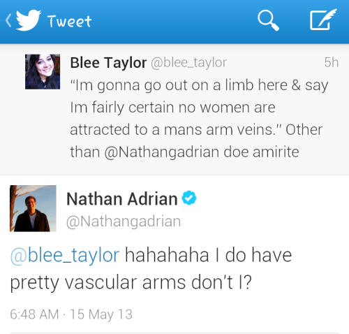 momo-land:  ninaadrian:  #NathanAdriansArmVeins  HIS VOCABULARY *swoon*