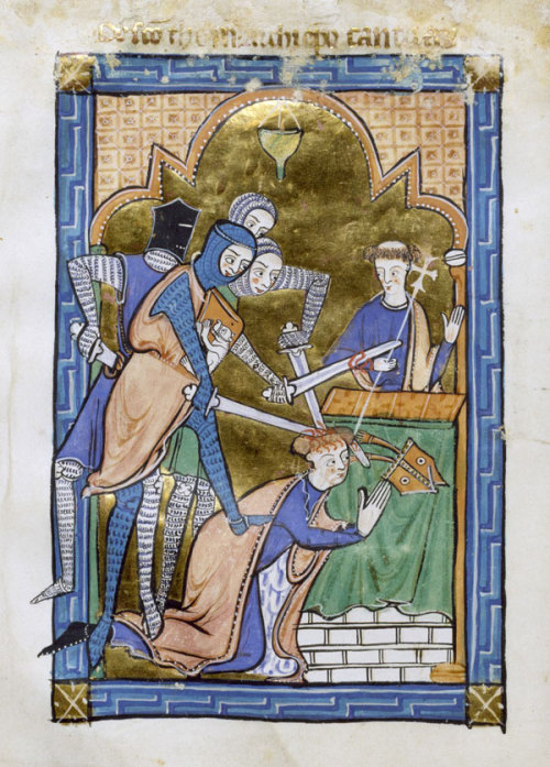 mediumaevum:  The gruesome death of Thomas Becket One of more graphic depictions of this moment. Three of the four knights attack the archbishop, who is kneeling in prayer before the altar. One of the knights kicks Thomas to the floor, and sends his miter flying as his sword cracks open Thomas's head. Edward Grim, who was himself wounded in the attack, wrote down what, according to his account, are the last words of Thomas:  'For the name of Jesus and the protection of the Church, I am ready to embrace death.'