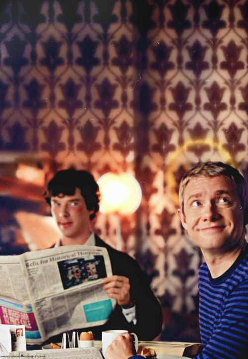 watswitdamonkey:  cookiesrulez:  mrs-hudson-took-my-skull:  John looks like he has a halo above his head…  sherlocks wound looks like he's actually blushing  or that he has just been kissed