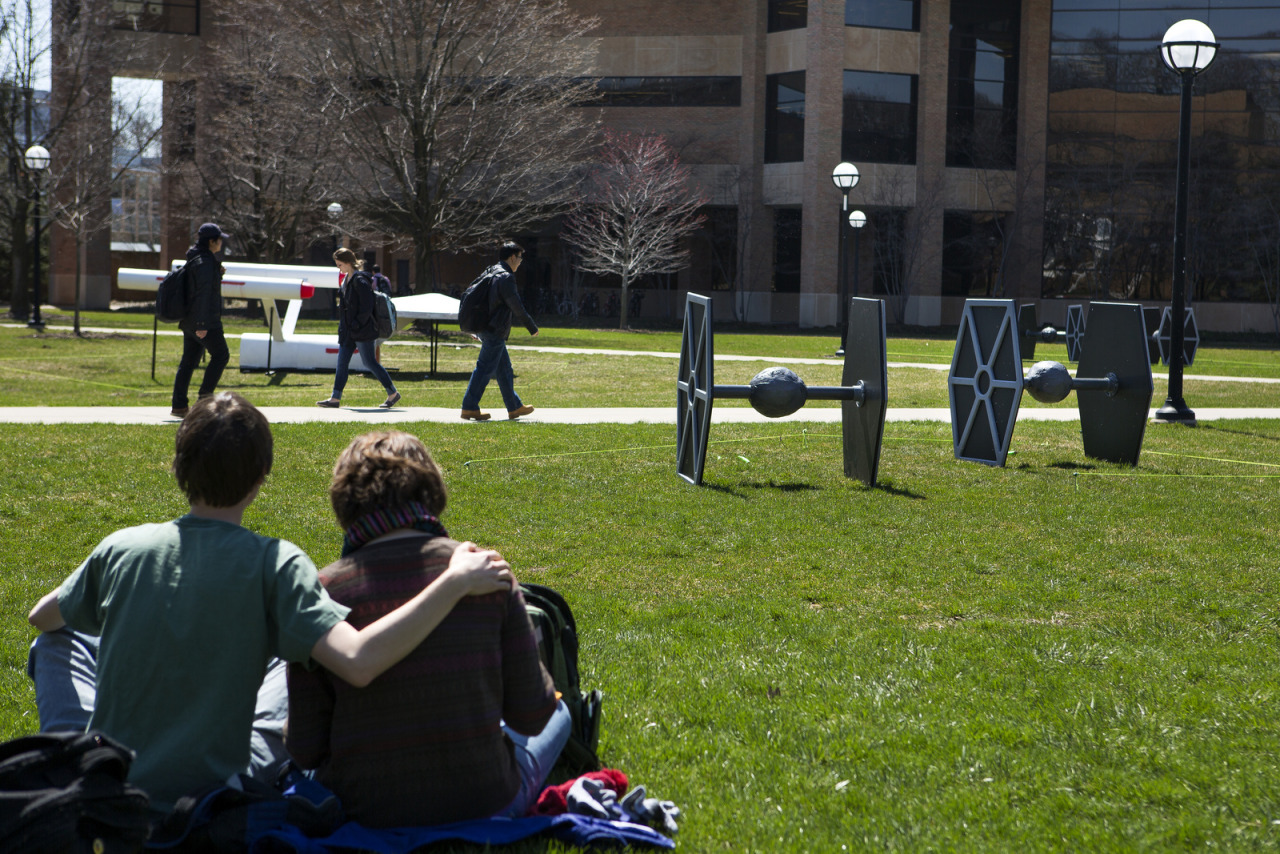 Star Wars and Star Trek models mysteriously show up on North Campus on April 22, 2013.  Photo: Joseph Xu, Michigan Engineering Communications and Marketing www.engin.umich.edu