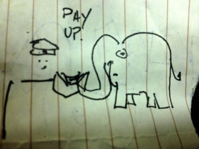 I tried to draw an elephant paying extra fees at the airport for weighing more.