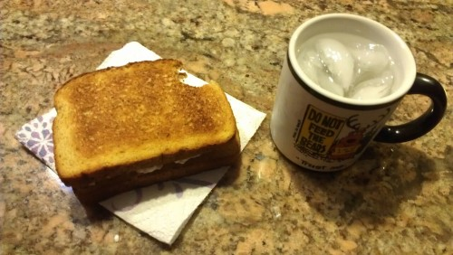 Toasted cottage cheese sandwich and a glass of water