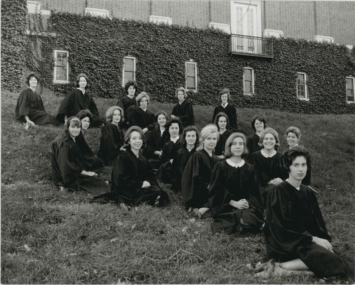 1965 Tau Phi- juniors pose in their highly academic graduation robes