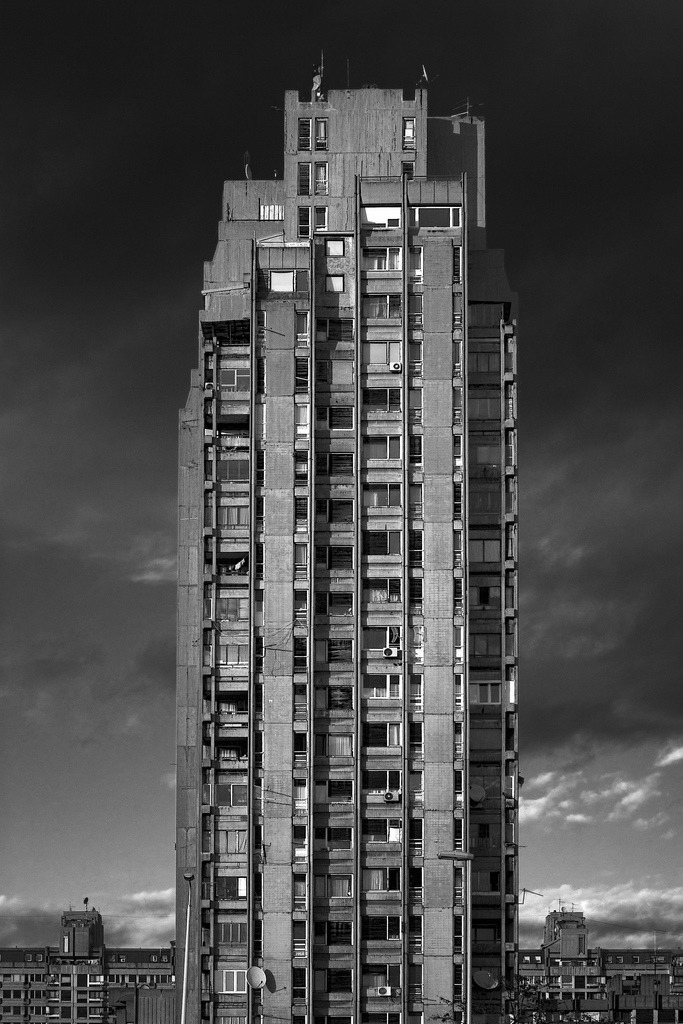 n-architektur:  One of the four towers of 23th block, Blegrade, Seriba by Marko Radinkovic