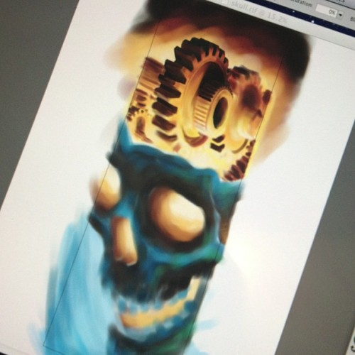 Tightening up some areas #digitalart #cintiq #painter12 #gogs #skull #chrisjonesattoos  (at Physical Graffiti)