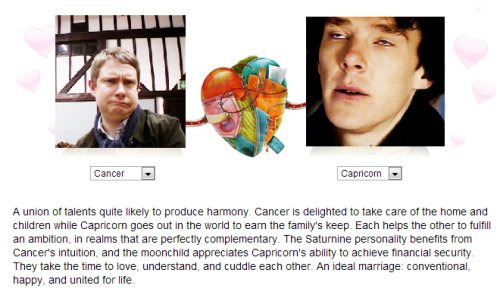 So i did John and Sherlock's love horoscope and now i'm dead