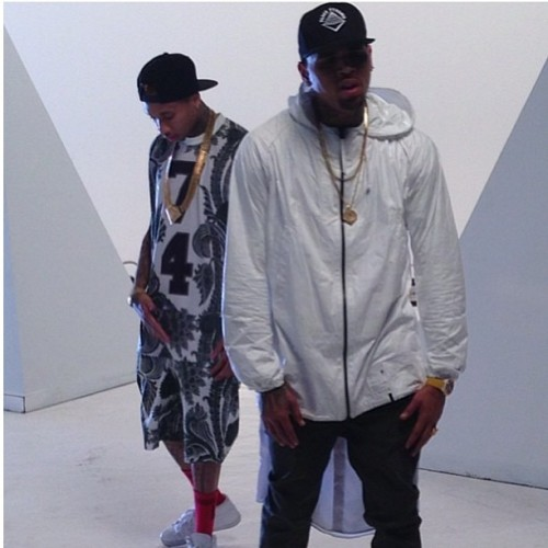"lovingcbreezy:  On the set of ""F*ck For The Road""."