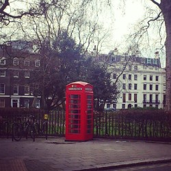 Una cabina telefónica en Bloomsbury Square Gardens #london #england #camden #red #cabin #telephone #garden #sky #bloomsbury #trees #square #gardens #typical #Londres #telefono