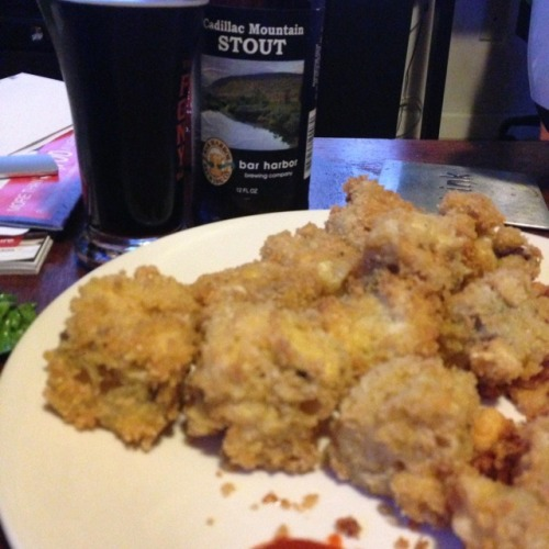 Cadillac Mountain Stout by Bar Harbor Brewing paired with fried BBQ Mac N Cheese. Heart attacks never tasted so good!