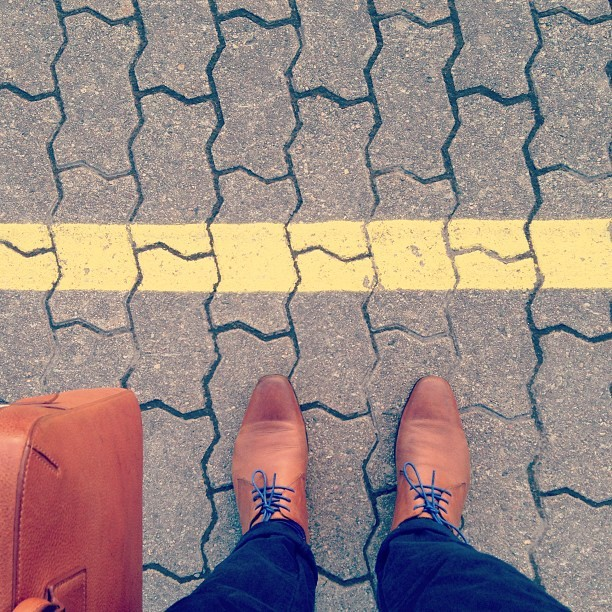 Waiting for my train. #earlybird #commuting #shoes #line #train #work #spring #redeye