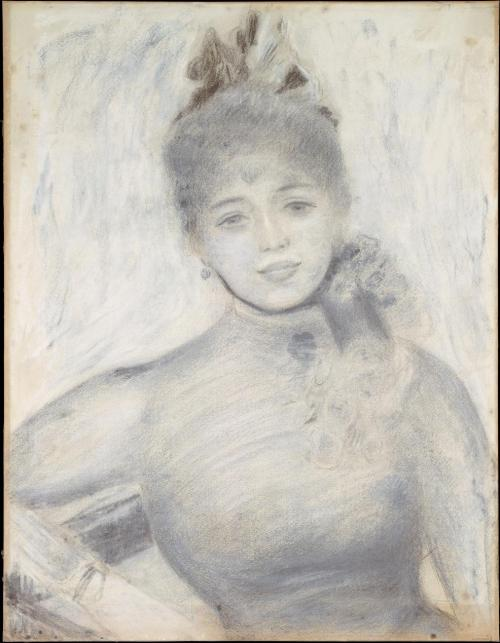 Auguste Renoir (French, 1841-1919) Portrait of Séverine Charcoal and unfixed pastel on paper 1885-7 23 1/2 x 18 1/4 in. (59.7 x 46.4 cm.)