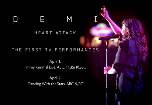 "I'll be performing ""Heart Attack"" on TV next week!!!! Get ""Heart Attack"" on iTunes – http://smarturl.it/dliTuness3"