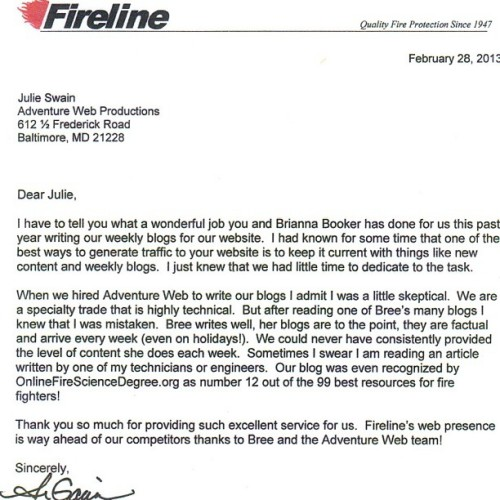 brianafierce:  #FirelineCorporation President #AnnaGavin Letter Of Recommendation… http://t.co/jFMdJCq34S Thank you Anna, Julie and Adventure Web Productions for helping me grow as a #writer and learn so much about being a quality #TechnicalWriter and #CopyWriter ! #FG2G www.fromgirltogirl.com  Great job me!