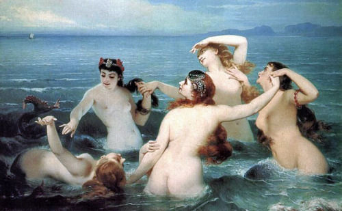 "aardwolfpack:  ""Mermaids Frolicking in the Sea"" a.k.a. ""The Dance of the Sea"" by Charles Edouard Boutibonne."