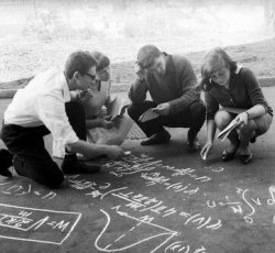 First-year students solve a complex equation, photo by Marius Baranauskas (Lithuania, 1968) #lithuania#1960s#soviet union#soviet#ussr#history#photography#vintage#retro #black and white