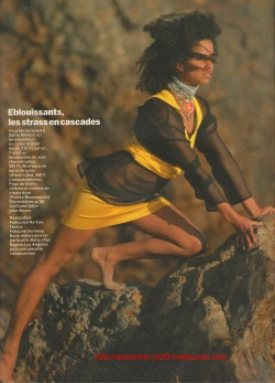 "80s-90s-supermodels:  ""Transparences En Version Sport"", Elle France, July 1984Photographer : Gilles TapieModel : Rae Dawn Chong"