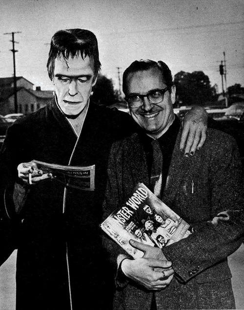 On the Set of The Munsters Fred Gwynne (Herman Munster) and Forrest J. Ackerman