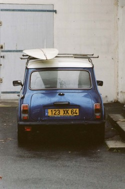outofreception:  Luc's Mini Cooper and an eleven foot slider in France.