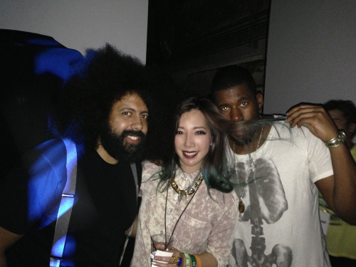 Reggie Watts, me, and Flying Lotus at the FEED party in SXSW.