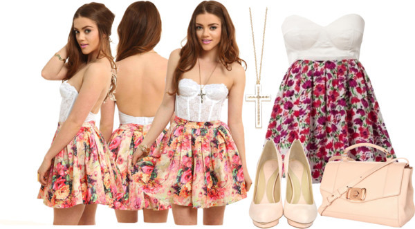 Floral Skater Skirt by kuku-claudia featuring summer skirts