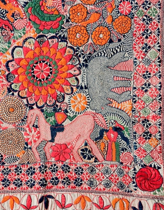 garoopatternandcolour:  Detail of kantha from Faridpur District, current day Bangladesh, second half of the 19th-century. Via HandEye Magazine.