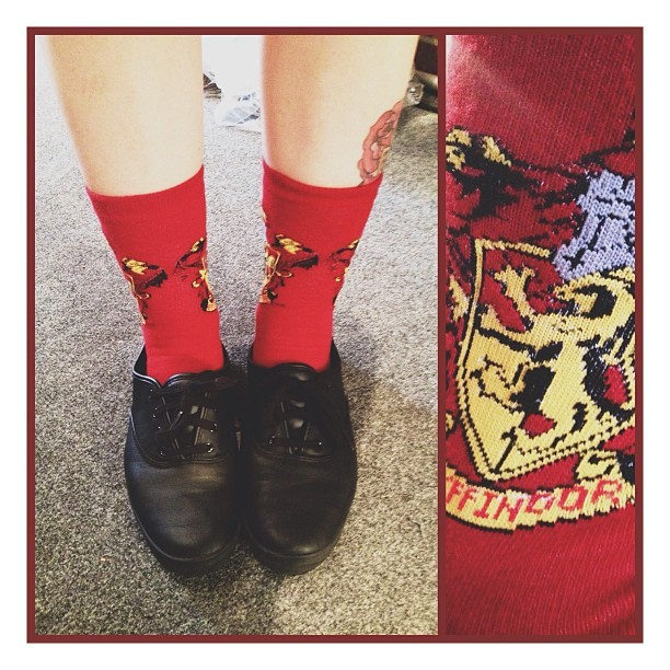 Forever obsessing over my HP socks. Team Gryffindor today. ⚡
