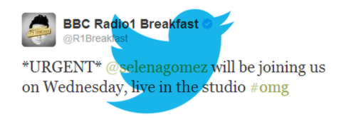 Selena will be on BBC Radio 1 Breakfast Show on Wednesday
