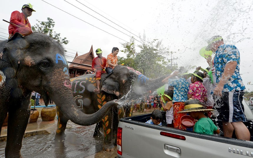 Elephants join revelers in a water fight during Songkran festival celebrations in Thailand ( AFP / Getty Images)