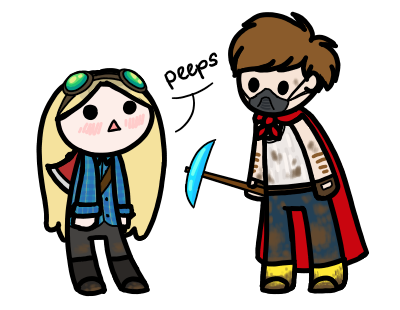 spiderishdrawsmostlyponies:  hey look it's me and lucas' minecraft characters lumberjack girl and dirt boy mothertruckers we r cute