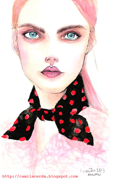*Como siempre soñé* Miu Miu SS 13 Watercolor, ink pen Illustration by Camila Cerda