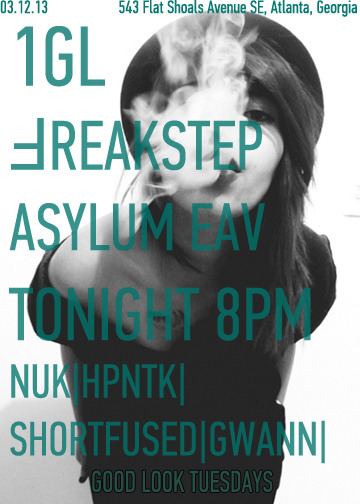 TONIGHT 8PM ASYLUM IN EAST ATLANTA VILLAGE NUK - HPNTK - SHORT FUSED - GWANN RSVP HERE https://www.facebook.com/events/482989605083659/