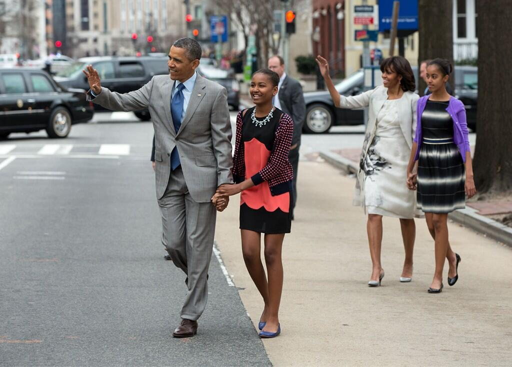 Photo of the First Family walking to Easter Mass today