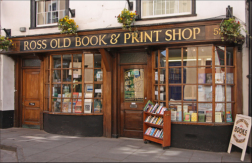 Ross Old Book Shop, Wye, Herefordshire. Ross Old Book & Print Shop is a traditional second-hand and antiquarian bookshop. There are around 20,000 different titles on display, ranging from recent publications to 300-year-old rarities. New items are added every single day. You will find a good selection of past and present books on the Wye Valley, Forest of Dean and Wales.  (photo courtesy of Hymer Club)