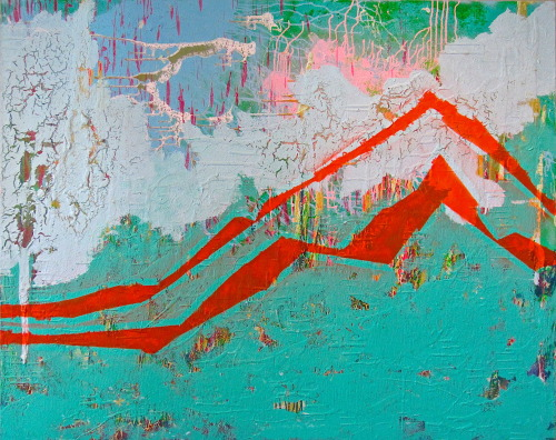"Kevin Regan Mullin Now Near Future Mountain 48"" x 60"", mixed media on canvas"