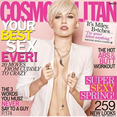 "I used ""White"" #nails by @rgbcosmetics on @MileyCyrus for the cover of @cosmomag #makeup @patiprema #hair @mrchrismcmillan #styling @rachelzoe"