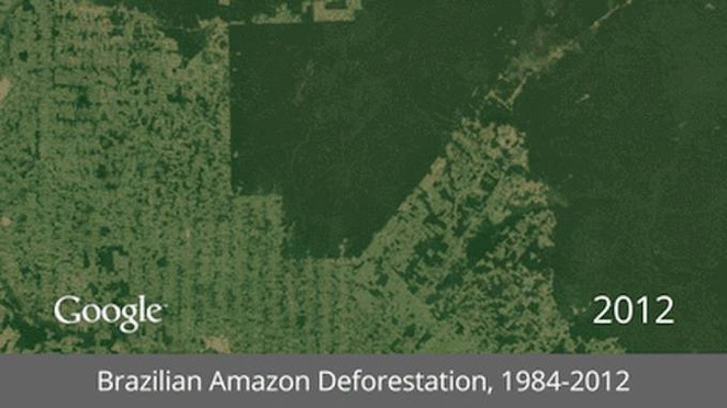 thepeoplesrecord:  Google+ demonstrates deforestation and other man-made climate disasters with satellite imagesMay 18, 2013 It's one thing to talk about deforestation, disappearing habitats, and shrinking glaciers and water resources, and another thing entirely to demonstrate it with actual satellite imagery. And thanks to Landsat images and the Google Earth Engine, we're getting a glimpse at some key locations across the planet as they are changed by the hands of man. A series of interactive timelapse GIFs that use Landsat satellite data to display massive changes to the Earth's surface could be a potent tool for motivating individuals and organizations to take action on key issues. Google's Animated GIFs of Earth Over Time focuses our attention on key features of our planet, such as the Amazon rainforest, the coal beds of Wyoming, the Columbia Glacier, the Aral Sea, and the deserts of Saudi Arabia.  Today, we're making it possible for you to go back in time and get a stunning historical perspective on the changes to the Earth's surface over time. Working with the U.S. Geological Survey (USGS), NASA and TIME, we're releasing more than a quarter-century of images of Earth taken from space, compiled for the first time into an interactive time-lapse experience. We believe this is the most comprehensive picture of our changing planet ever made available to the public. - Google  Some of the visualizations are kind of subtle, and need to be put into context to really hit home (such as the massive increase in irrigated areas in Saudi Arabia, which affects local water supplies, or the urban sprawl of Las Vegas, which also puts increased demands on local resources), but some of them, such as this one documenting the rapidly disappearing rainforest in the Brazilian Amazon, speak for themselves:  Explore a global timelapse of our planet, constructed from Landsat satellite imagery. The Amazon rainforest is shrinking at a rapid rate to provide land for farming and raising cattle. Each frame of the timelapse map is constructed from a year of Landsat satellite data, constituting an annual 1.7-terapixel snapshot of the Earth at 30-meter resolution.  - Google Earth Engine  These interactive time-lapse images can be manipulated by pausing or zooming in to them, as we've come to expect from Google Earth, and may serve as a pivot point for those who are on the fence about the effects that our booming population and its increased demand for resources has on our Big Blue Marble. Source You can view all of the images at Google +, and you can read a backstory at TIME.