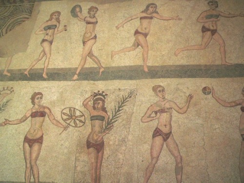 "harvestheart:  ""Bikini girls"" mosaic found by archeological excavation of the ancient Roman villa near Piazza Armerina in SicilySource: Smithsonian Magazine"